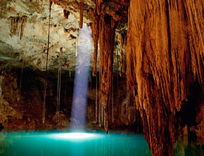 Cenote or sinkhole in Mayan Riviera