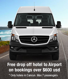 Book more than 600 usd and get Free transportation from Cancun Airport to your hotel
