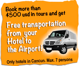 Book more than 500 usd and get Free transportation from Cancun Airport to your hotel