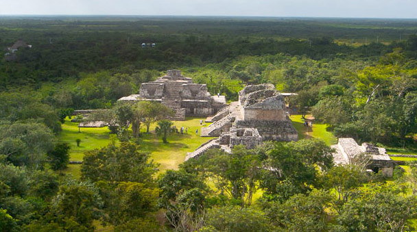 View of the mayan jungle surrounding Ek Balam