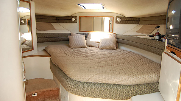 Repose a litte while inside the Yacht bedroom  Private Yacht Charter Ocean  Limo from Cancun. Boat Bedroom