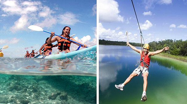Zip line and kayak in Coba Mayan Encounter tour