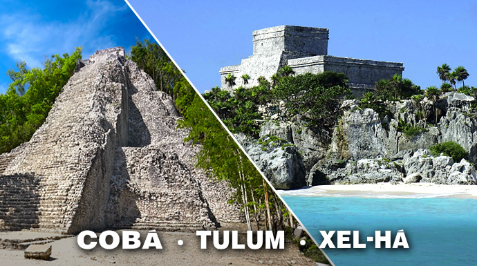 Excursion to Coba, Tulum and Xe-Ha in one day