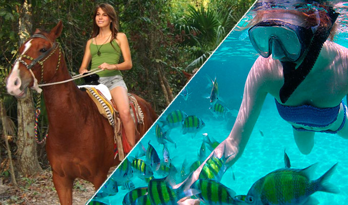 Combo tour, Ride a horse and reef snorkel at Maroma