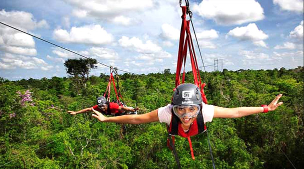 Flying tarzan at Selvatica Park Zipline