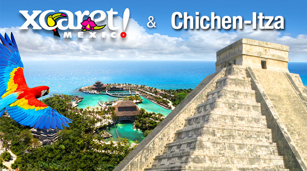 Xcaret basic tour and Chichen itza Ik kil combo package