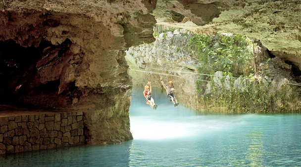 Cenote landing zip lines at Xplor