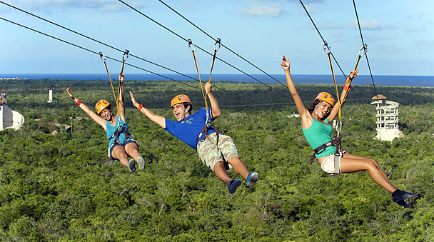 Zip line in the Xplor Park